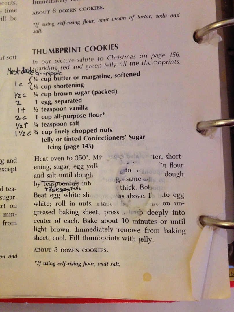 Original thumbprint cookie recipe, spillage and love included.