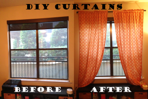 Before and after DIY Curtains