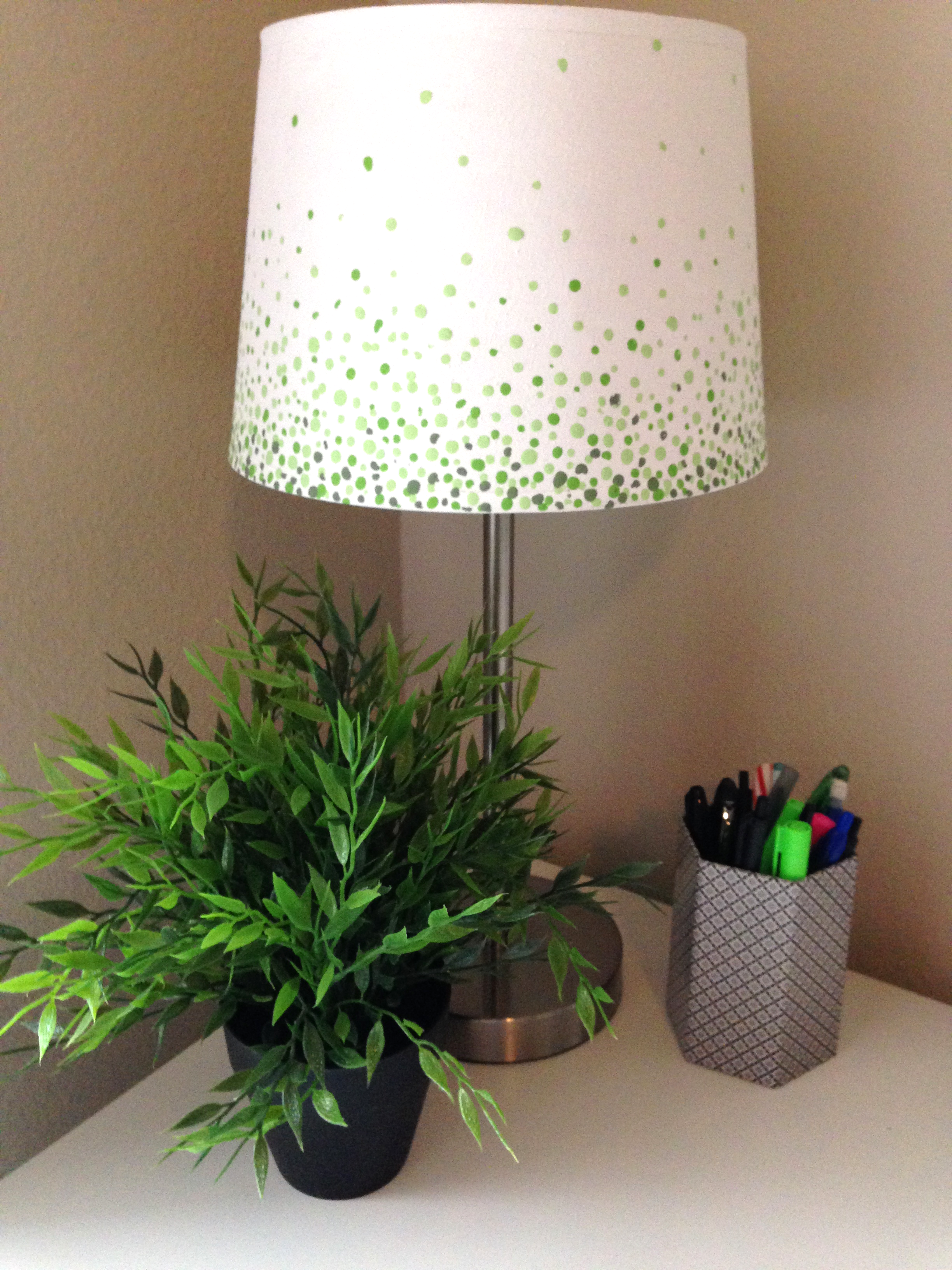 lamp revamp lamp with ombre green dots