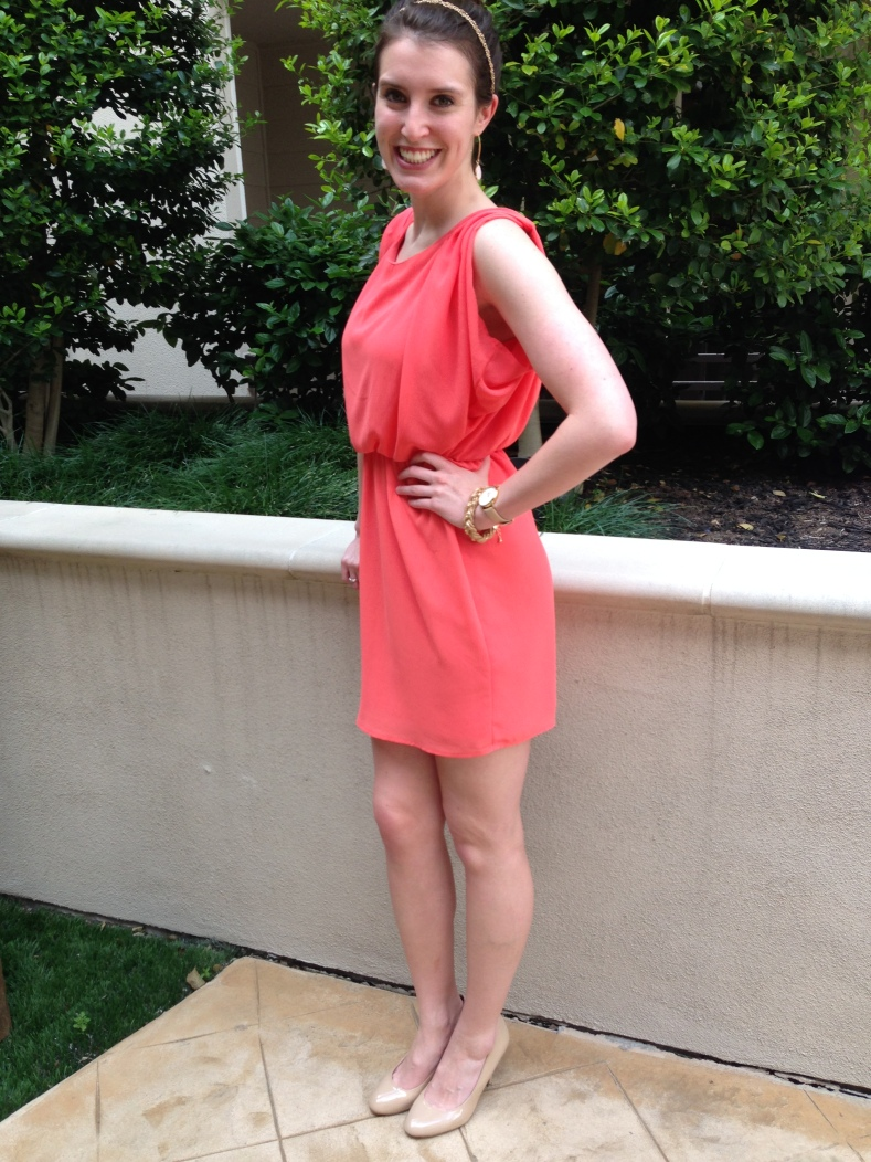 Refashioned Coral Dress - finished dress 11