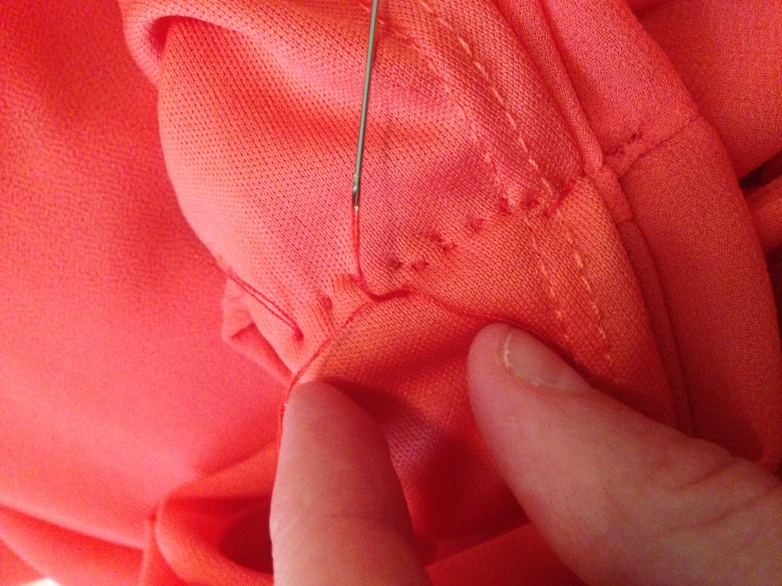 Refashioned Coral Dress - make loop with thread near fabric 5