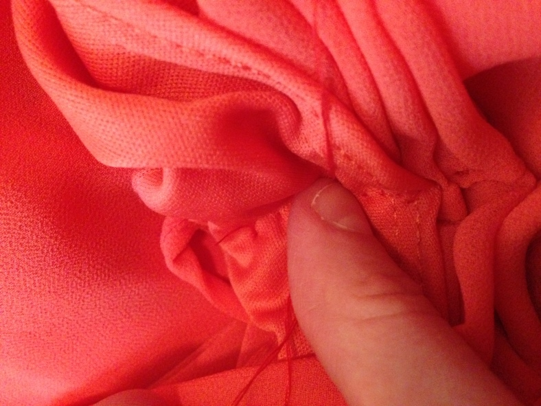 Refashioned Coral Dress - put finger over loop and pull to make a knot 6