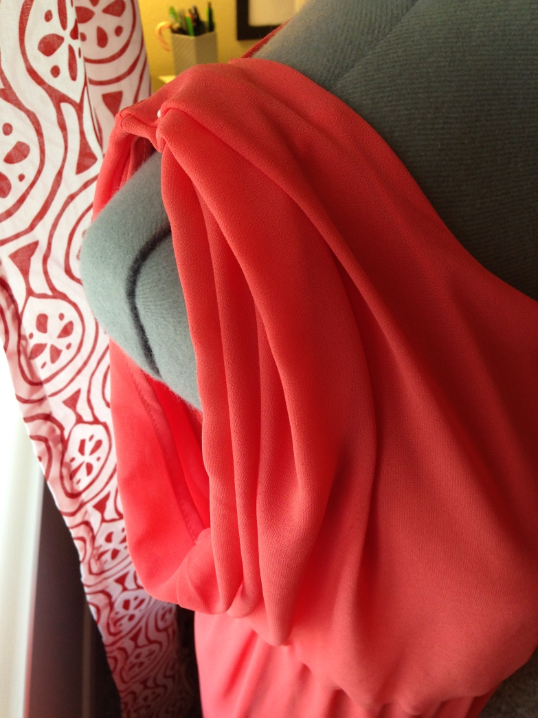 Refashioned Coral Dress -sleve pinned up 2