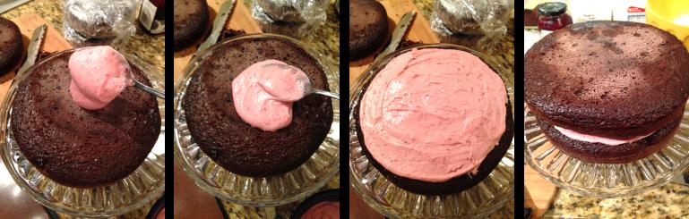 Raspberry Buttercream Filling on cake