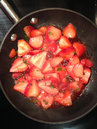 Strawberry Mint French Toast - Sautee berries