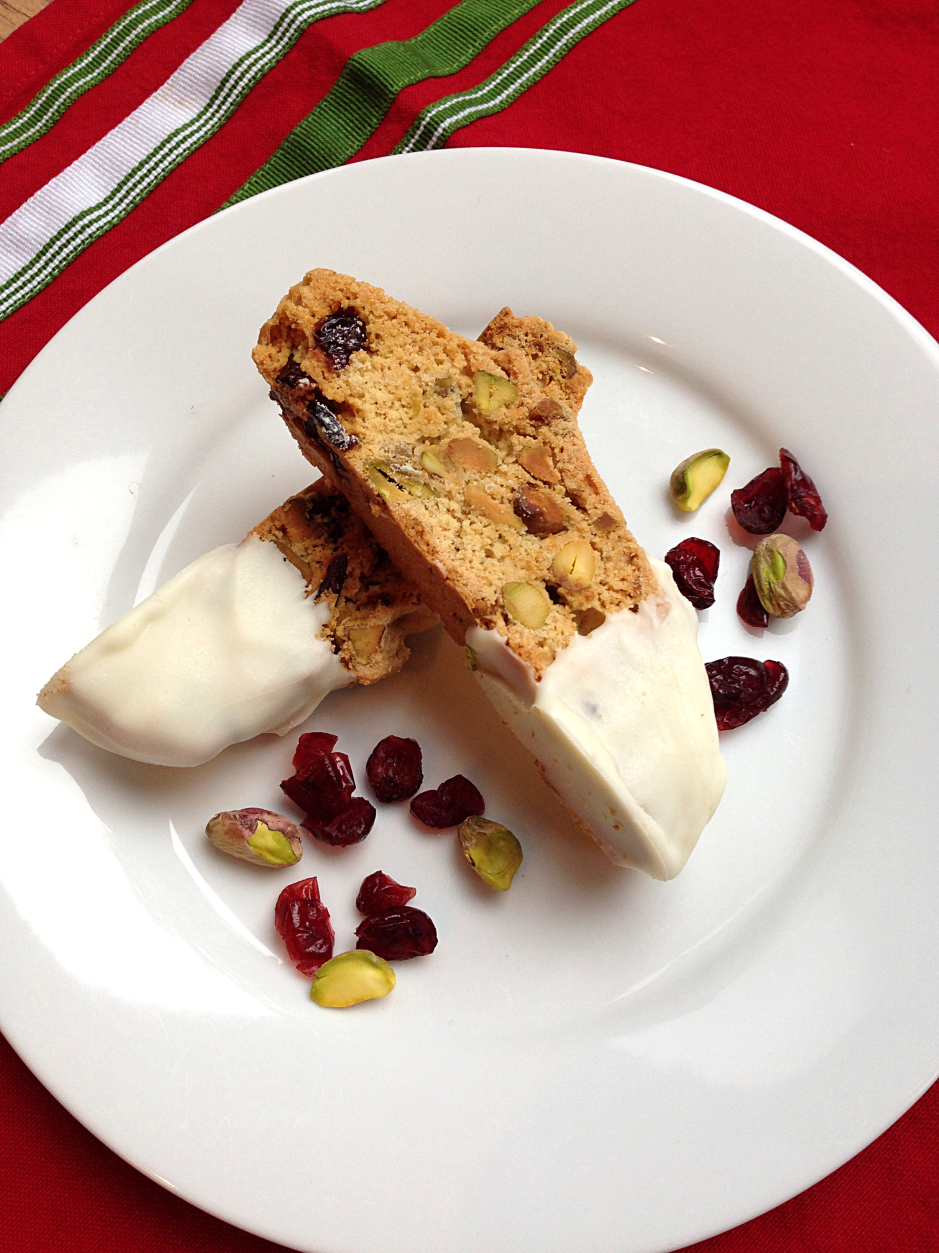 Cranberry And Pistachio Biscotti Dipped In White Chocolate Recipe ...