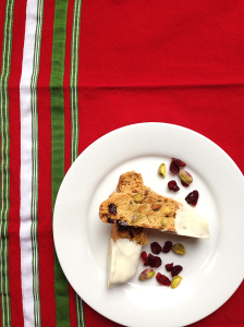 White Chocolate Dipped Cranberry Pistachio Biscotti by Bunny Baubles Blog