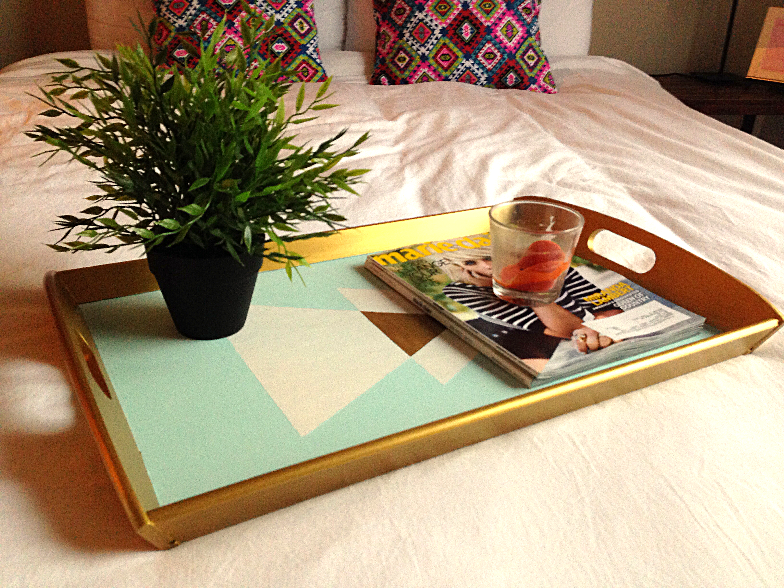 Diy Geometric Gold Painted Tray 7