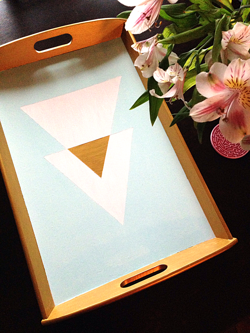 DIY Geometric Gold Painted Tray by Bunny Baubles Blog