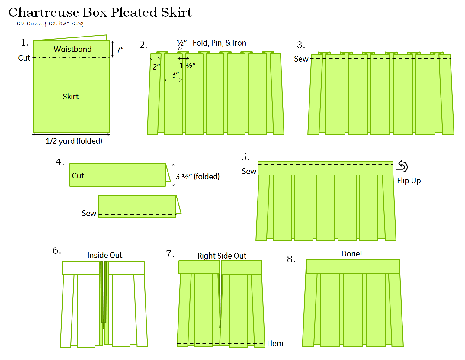 Chartreuse Pleated Skirt Sewing Tutorial – Bunny Baubles