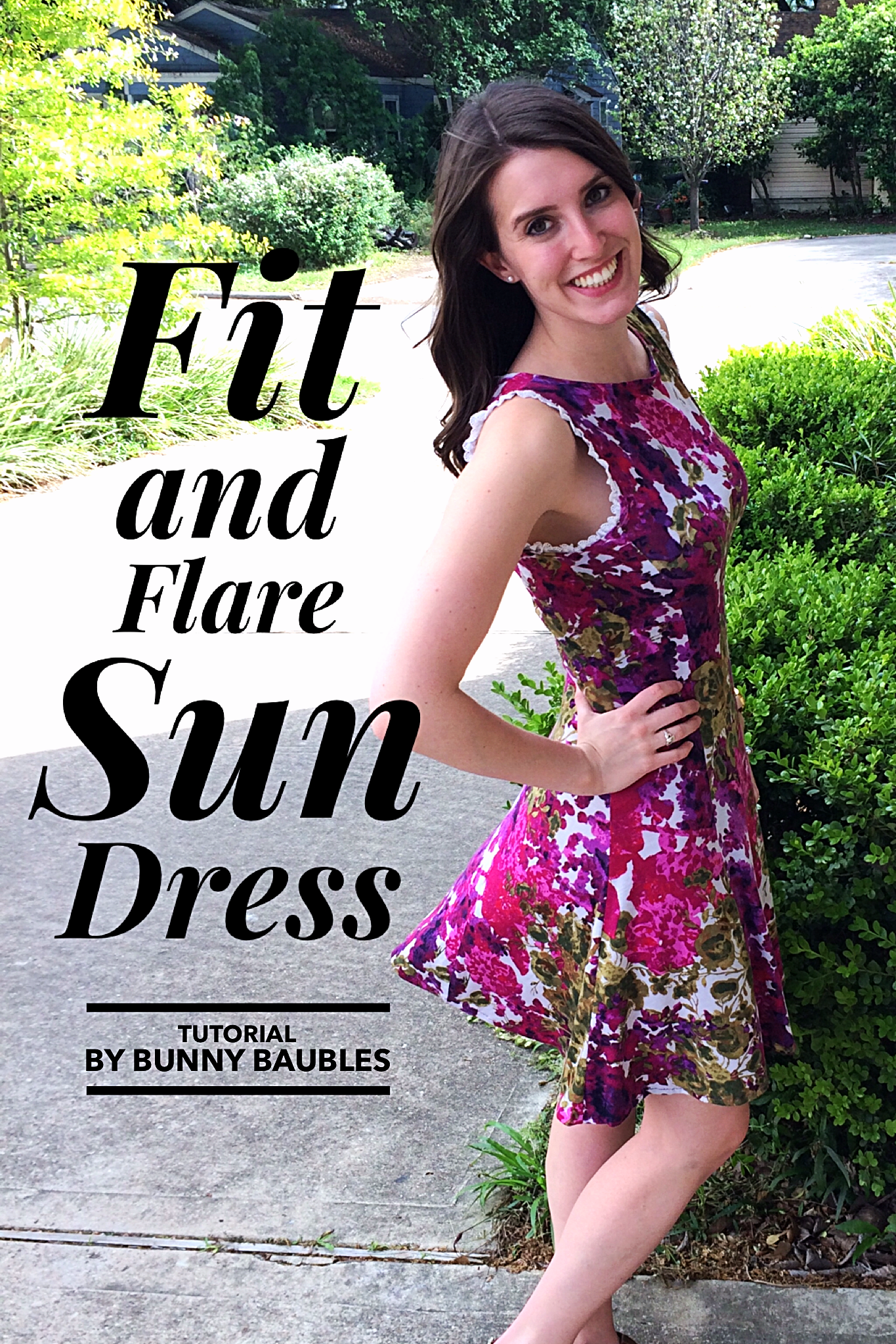 Diy fit and flare sun dress sewing tutorial bunny baubles