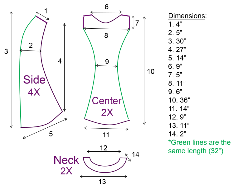 Fit and Flare Sun Dress Tutorial Dimensions by Bunny Baubles