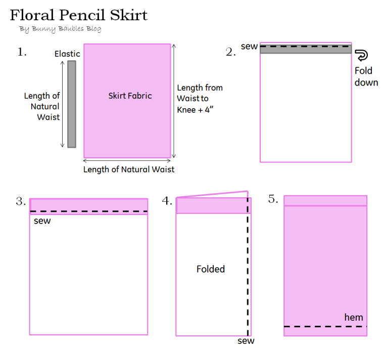 Floral Pencil Skirt Tutorial by Bunny Baubles Blog