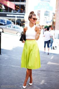 Blog Lovin Chartreuse Skirt