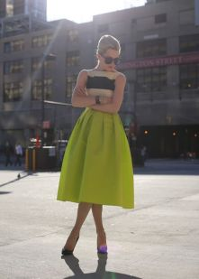 Who What Wear Chartreuse Skirt