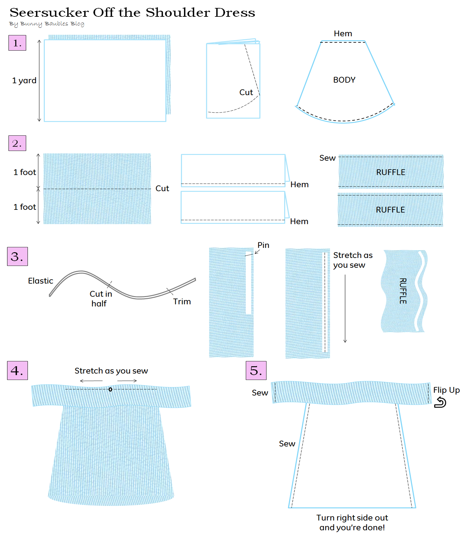 ... Off the Shoulder Summer Dress Sewing Tutorial – Bunny Baubles
