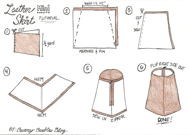 Faux Leather Mini Skirt Tutorial by Bunny Baubles Blog