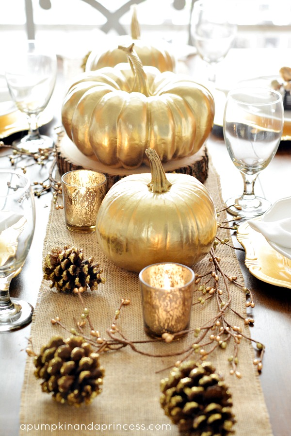 A Pumpkin and A Princess Gold-Thanksgiving-Tablescape