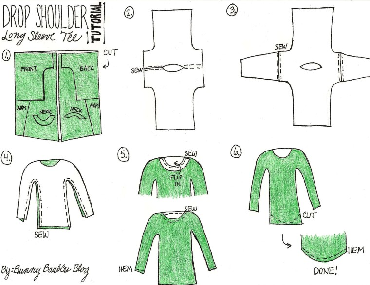 Drop Shoulder Long Sleeve Tee Tutorial by Bunny Baubles Instructions