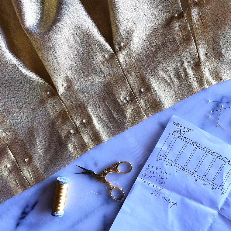 Gold Pleated Skirt Tutorial by Bunny Baubles Blog 7