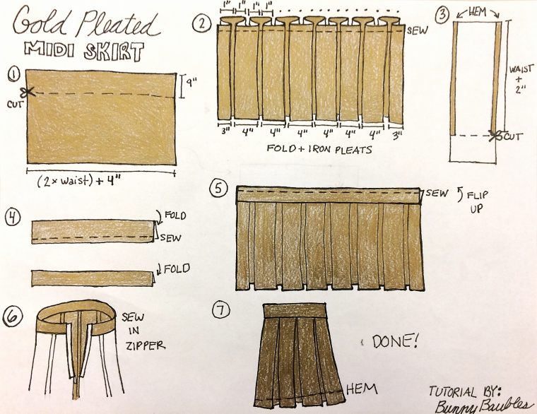 Gold Pleated Skirt Tutorial by Bunny Baubles Blog 8