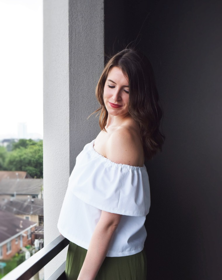 Off the Shoulder Ruffle Crop Top Sewing Tutorial DIY 3
