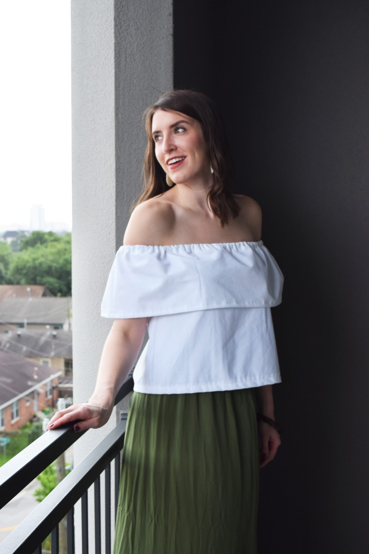 Off the Shoulder Ruffle Crop Top Sewing Tutorial DIY 6