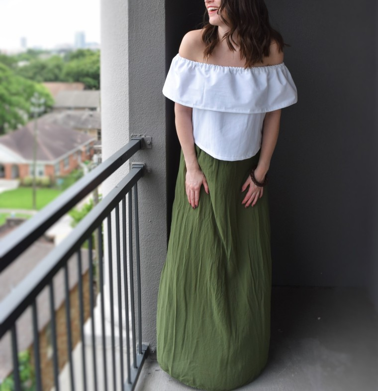 Off the Shoulder Ruffle Crop Top Sewing Tutorial DIY 7