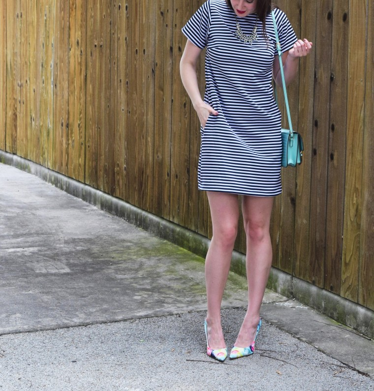 Striped Tee Shirt Dress Sewing DIY by Bunny Baubles 2