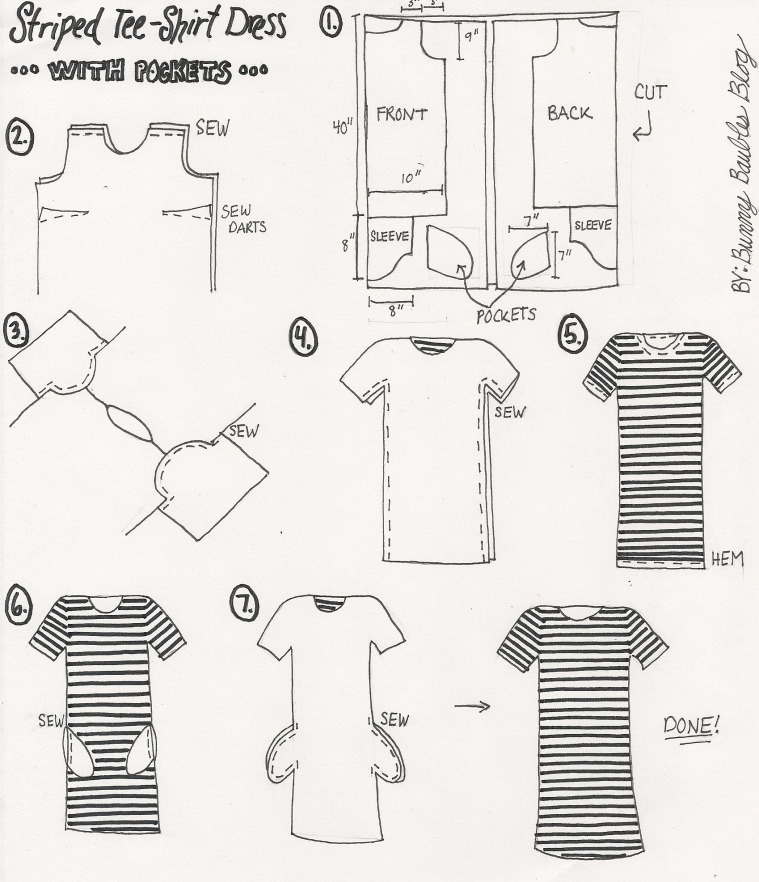 Striped Tee Shirt Dress Sewing DIY by Bunny Baubles Blog