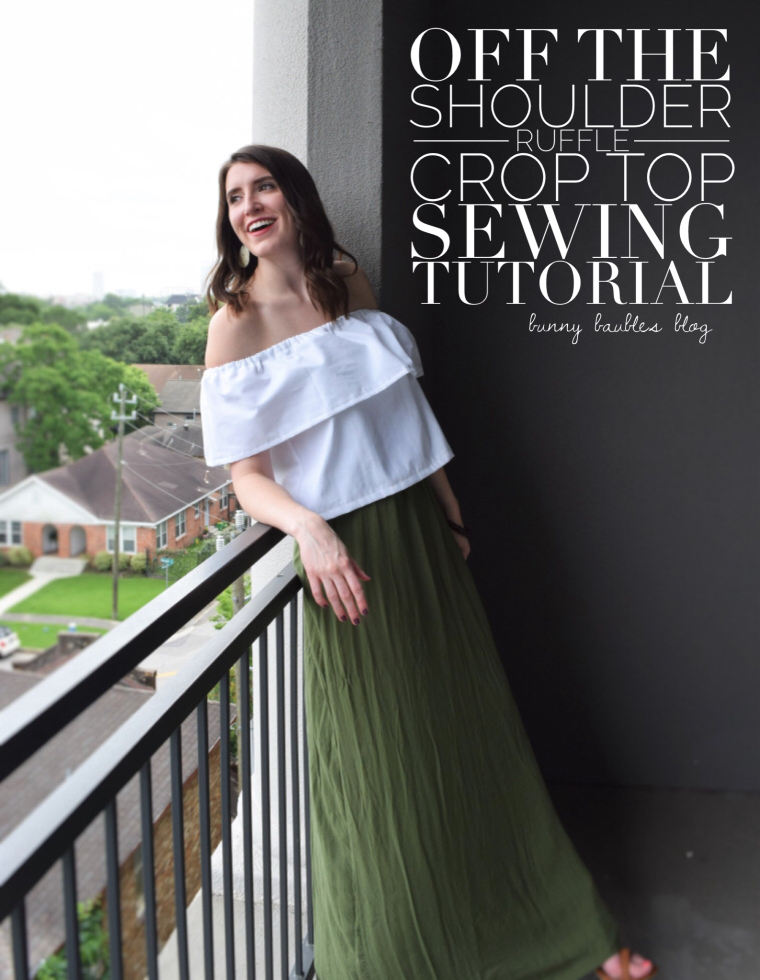 Off the Shoulder Ruffle Crop Top Sewing Tutorial by Bunny Baubles
