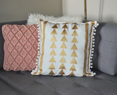 DIY Gold Painted Tribal Pillow Case 1