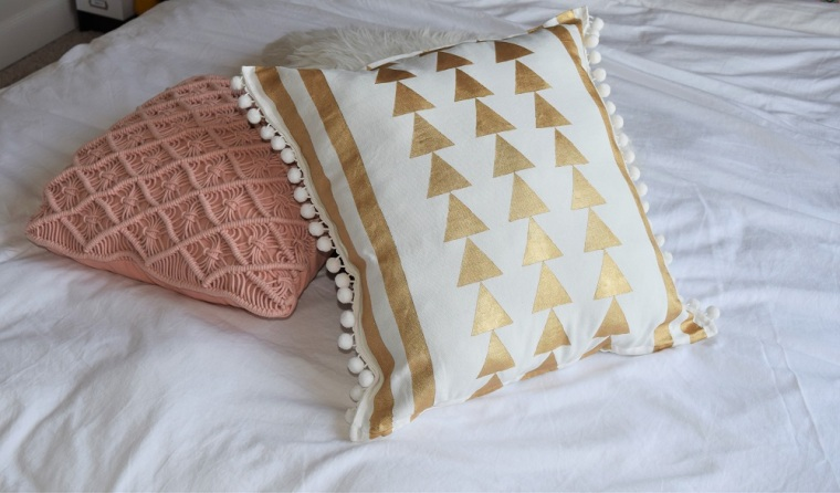 DIY Gold Painted Tribal Pillow Case 2