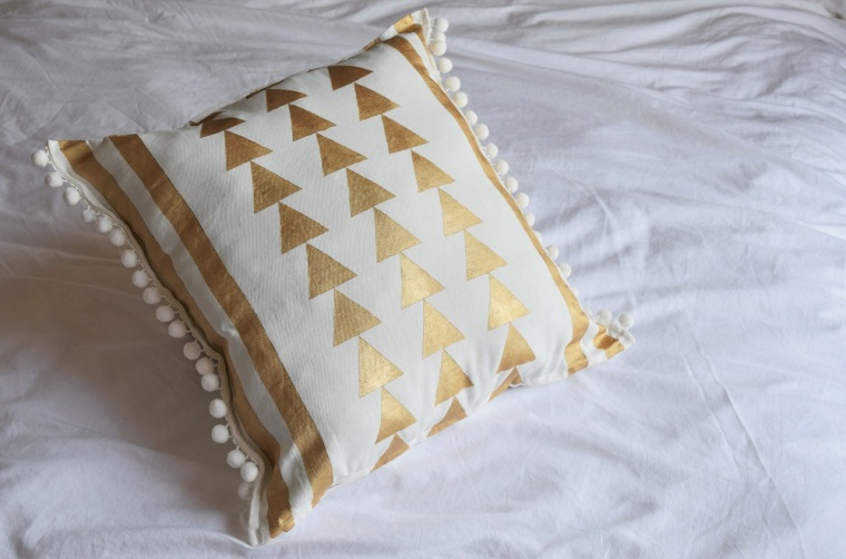 DIY Gold Painted Tribal Pillow Case 3
