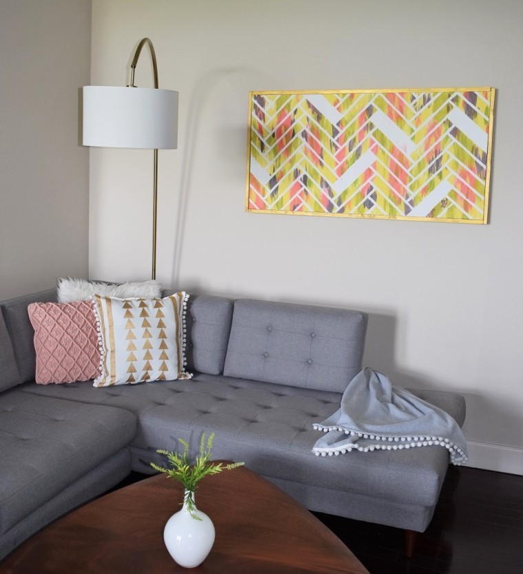 DIY Gold Painted Tribal Pillow Case 4