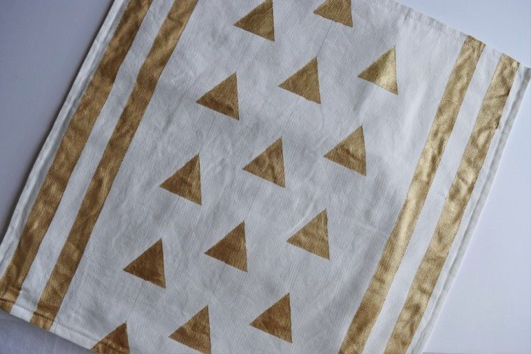 DIY Gold Painted Tribal Pillow Case Step 5 a