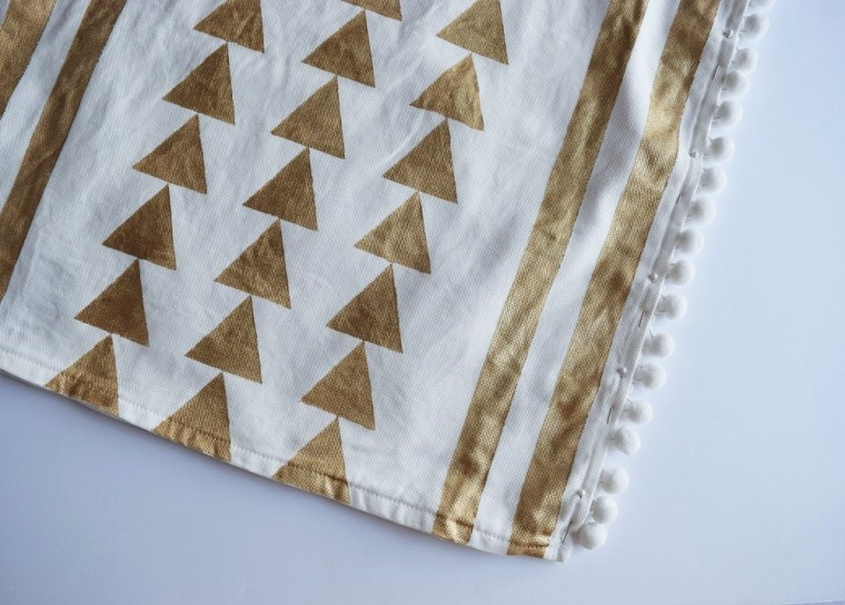 DIY Gold Painted Tribal Pillow Case Step 6