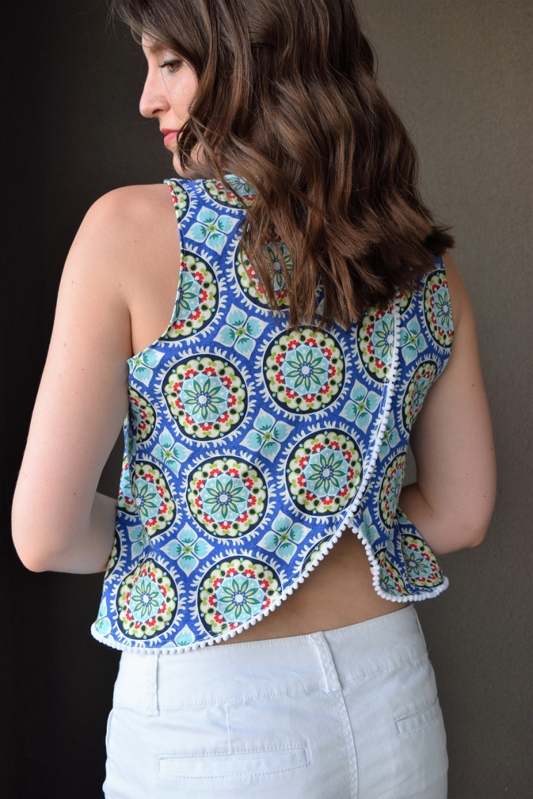 Open Back Tank with Pom Pom Trim Sewing Pattern 3