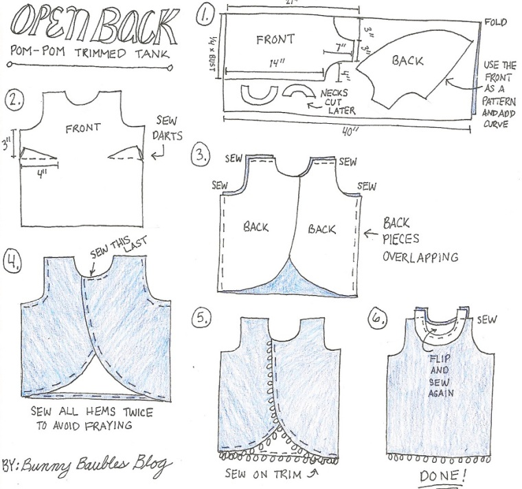 Open Back Tank with Pom Pom Trim Sewing Pattern Instructions