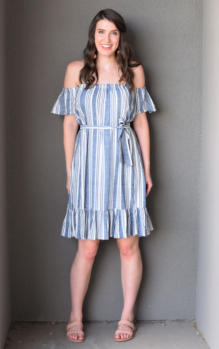 Easy Diy Belted Off The Shoulder Dress With Ruffle Hem