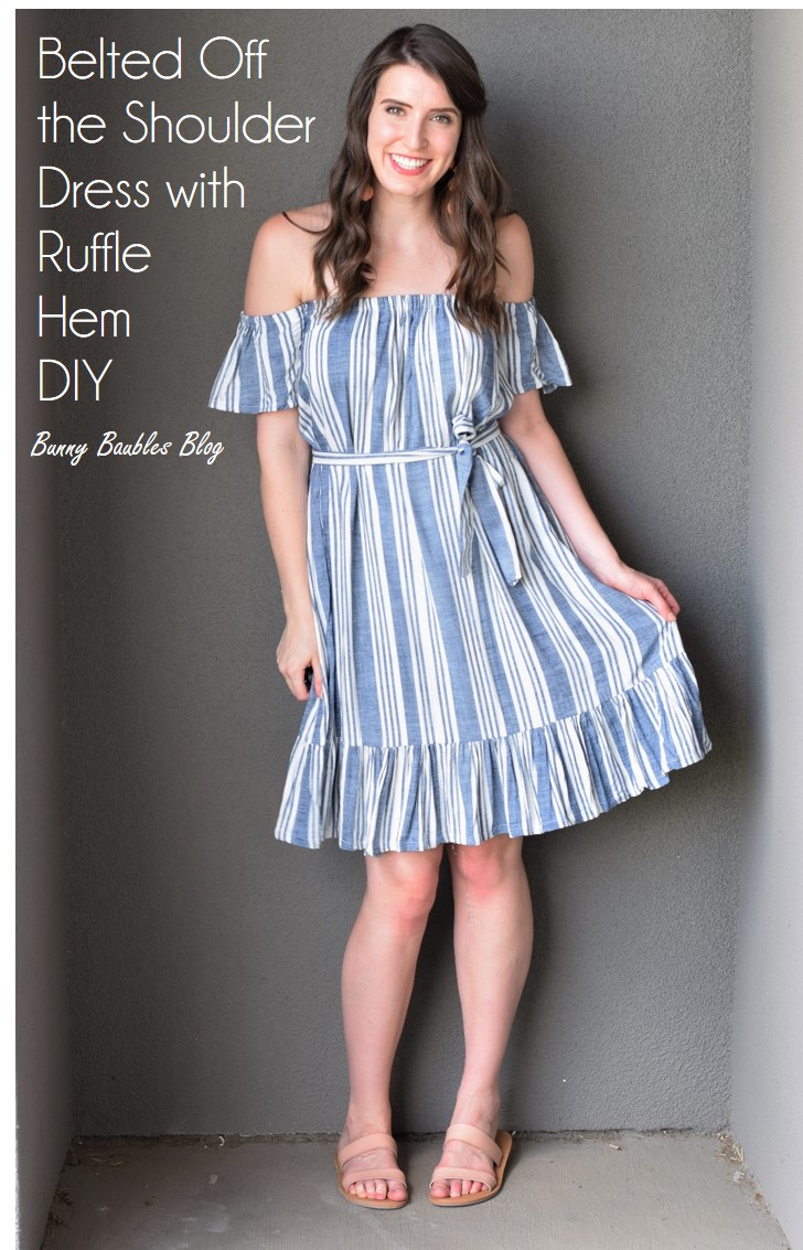 a16f8b694792 Easy DIY Belted Off the Shoulder Dress with Ruffle Hem – Bunny Baubles