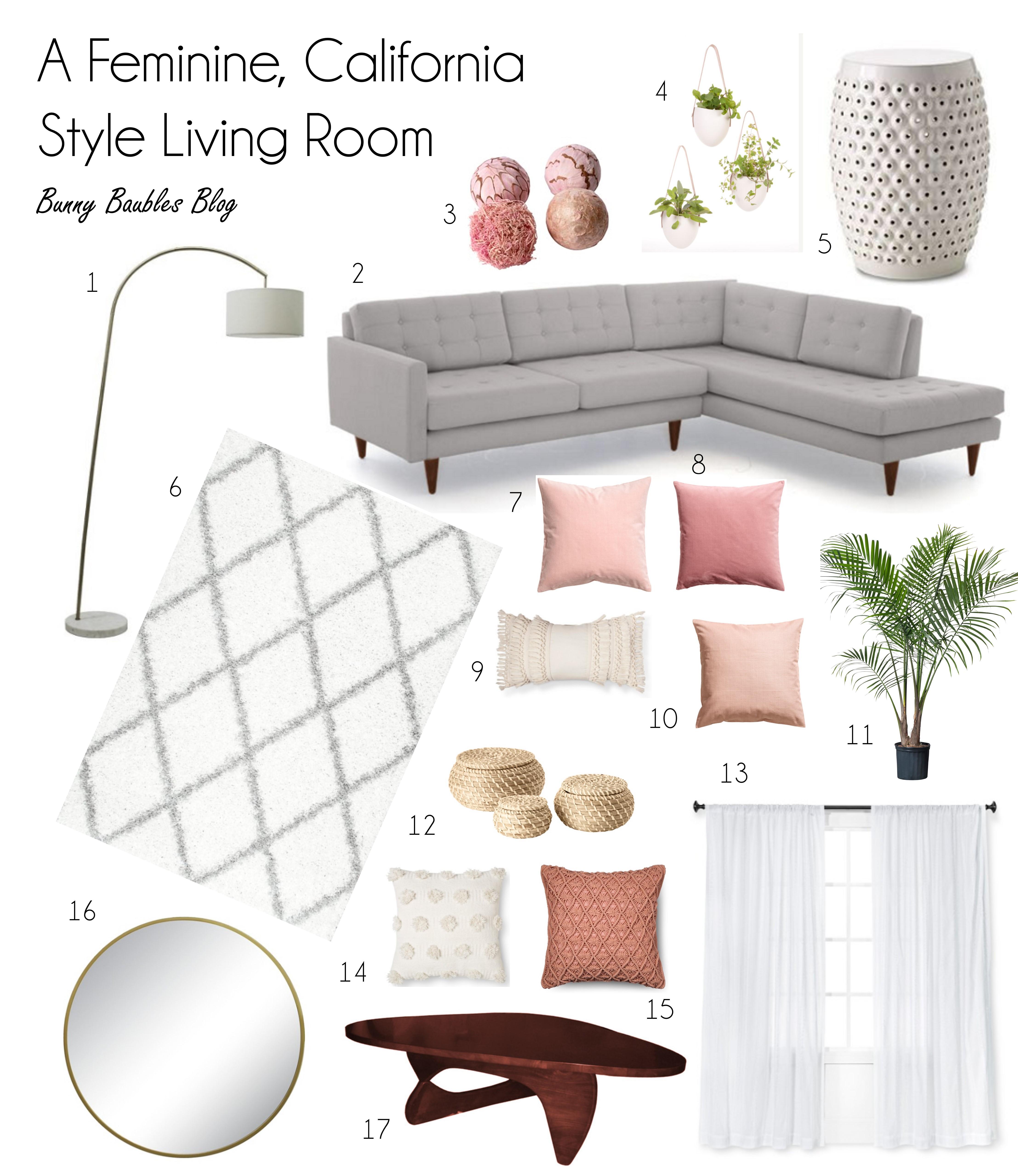 A Feminine California Style Living Room – Bunny Baubles
