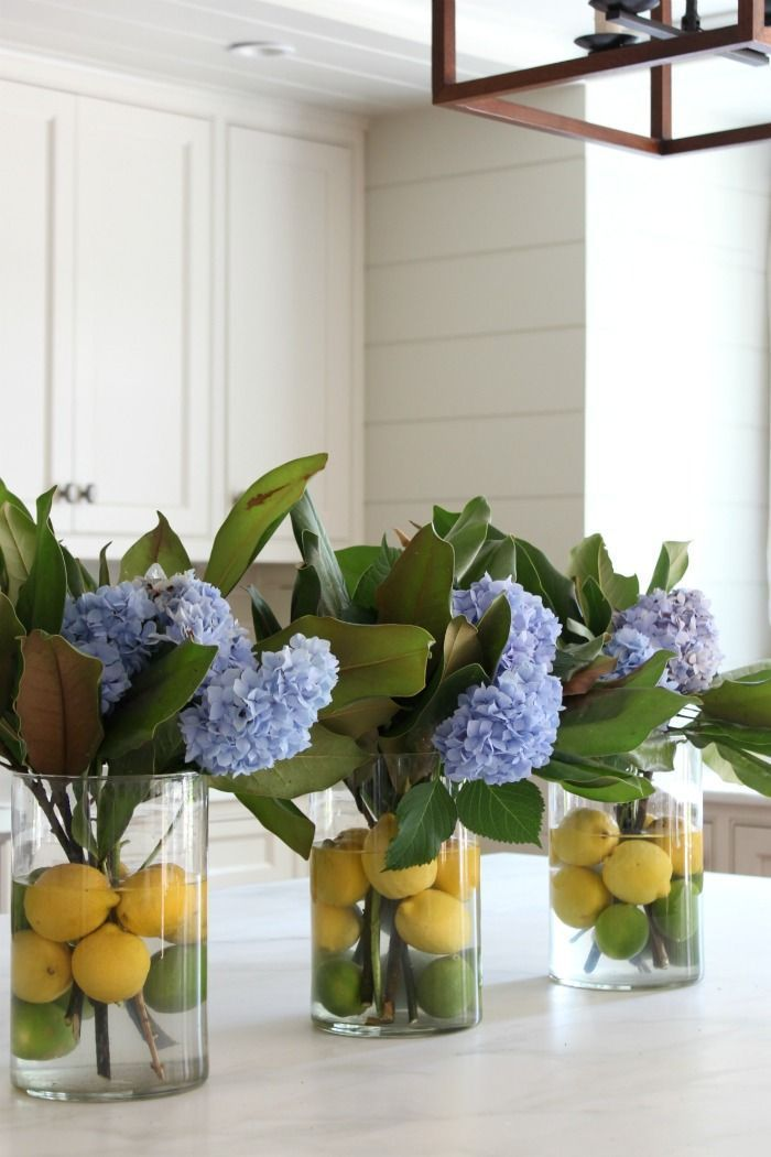 Hydrangea Flower Arrangement- Hydrangea, Magnolia and Citrus